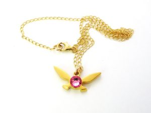 Gold Pink Fairy Necklace